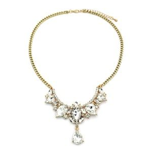 Luxury pedant gold white crystal necklace